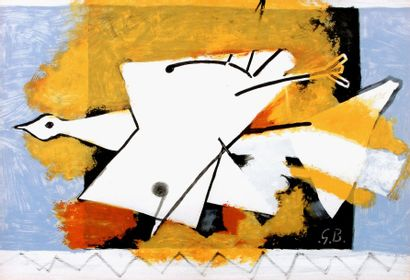 BRAQUE Georges Composition Lithographie sur papier Signé dans la Planche, SBD 42...