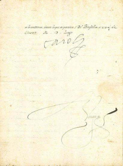 """CHARLES QUINT (1500-1558) Roi des Espagnes et Empereur du Saint-Empire L.S. """"Carolus"""",..."""