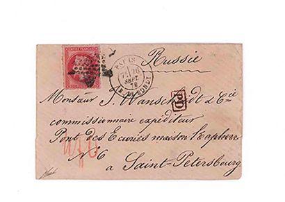 RUSSIE - 26 SEPTEMBRE 1870 80c lauré obl. étoile 5 PARIS Rue de Bondy sur enveloppe...
