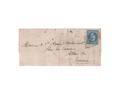 2 OCTOBRE 1870 20c lauré obl. losange ambulant CP 2° sur Lm du 2 octobre 1870 pour...