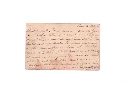 4 OCTOBRE 1870 10c lauré obl. càd PARIS Ministère des Finances sur carte postale...