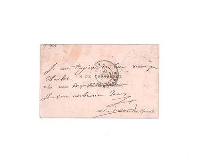 5 OCTOBRE 1870 10c lauré obl. GC 1715 PARIS Grenelle sur carte de visite pour Montauban....