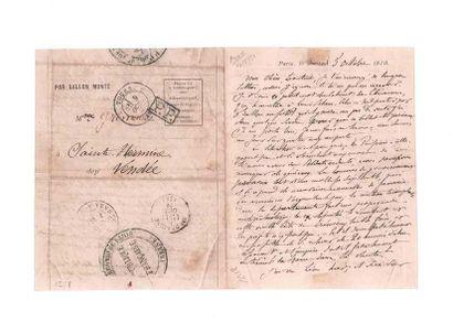 9 OCTOBRE 1870 Griffe PP encadrée sur formule PAR BALLON MONTÉ pour Ste Hermine,...