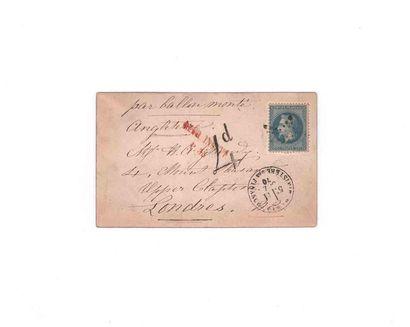 11 0CTOBRE 1870 20c lauré obl. étoile 35 PARIS Ministère des Finances sur carte...