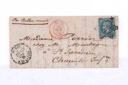 13 OCTOBER 1870 20c lauré obl. étoile 2 càd...