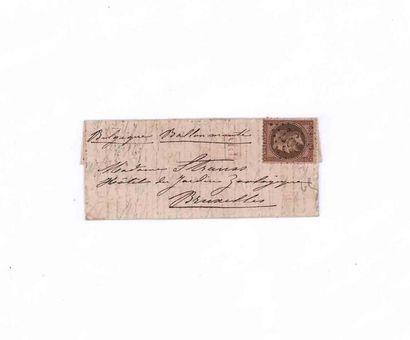 BELGIQUE 17 OCTOBRE 1870 30c lauré obl. GC 3997 (TOURS) sur Lm daté 17 octobre 1870....
