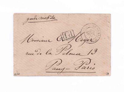 23 OCTOBRE 1870 Càd SAINT-DENIS S SEINE sur enveloppe avec griffe P.P. encadré et...