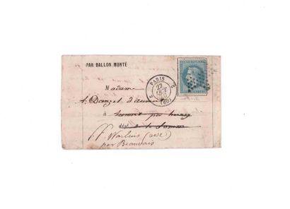 27 OCTOBRE 1870 20c lauré obl. étoile pleine rare cachet de route 2 PARIS 2 (60)...