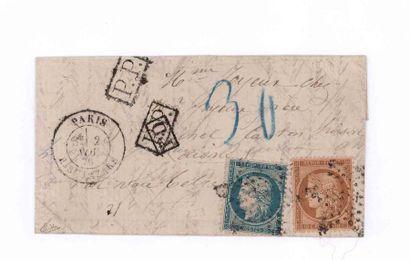 2 NOVEMBRE 1870 10c et 20c Siège obl. étoile 2 PARIS R. St. Lazare 2 NOV.70 pour...