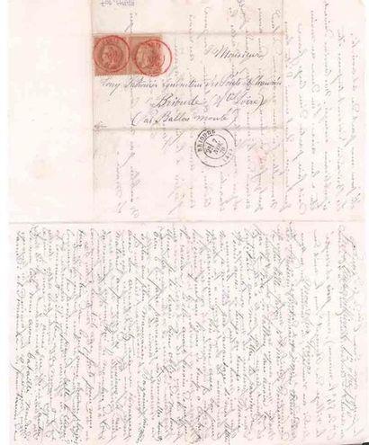 3 NOVEMBRE 1870 10c lauré en paire obl. PARIS (SC) rouge sur Lm datée Fort d'Aubervilliers...