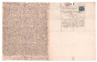 4 NOVEMBRE 1870 20c lauré obl. GC 1017 (faible) sur Lm de Chinon avec très long...