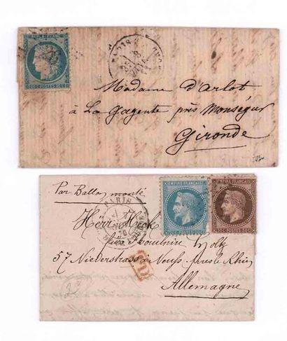 ENSEMBLE DE DEUX LETTRES PAR BALLONS MONTES. ALLEMAGNE - 7 NOVEMBRE 1870 20c lauré...