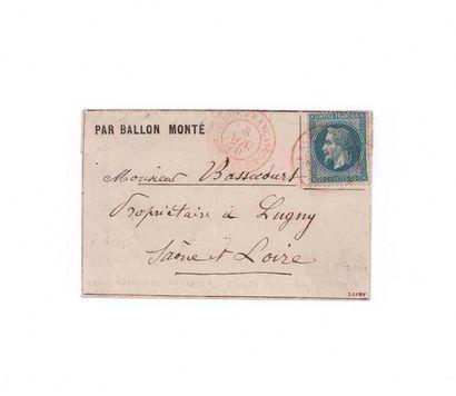 8 NOVEMBRE 1870 20c Siège obl. faible ARMÉE FRANÇAISE 14e CORPS 8 NOV.70 en rouge,...