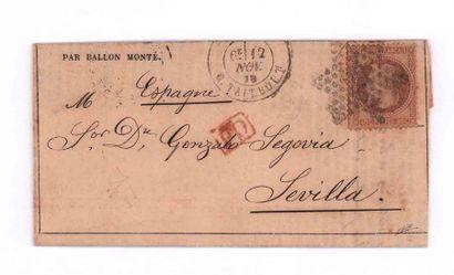 ESPAGNE - 12 NOVEMBRE 1870 40c lauré obl. étoile 22 PARIS Rue Taitbout sur GA n°7...
