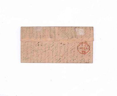 ETATS-UNIS - 19 NOVEMBRE 1870 40c lauré (déf.) obl. Etoile 1 Paris Pl. de la Bourse...
