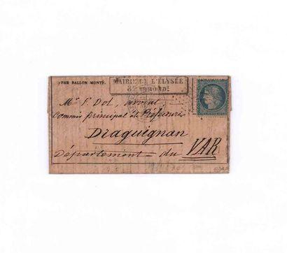 19 NOVEMBER 1870 20c Seat obl. star 35 PARIS...