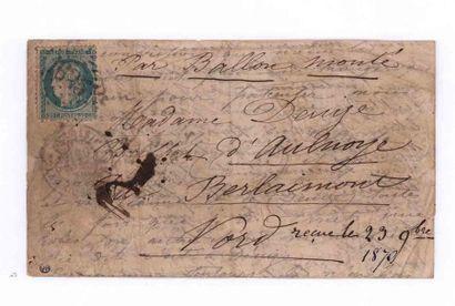 20 NOVEMBRE 1870 20c Siège obl. GC 1625 rare càd PARIS La Gare d'Ivry (faible) sur...