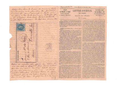 23 NOVEMBER 1870 20c lauré obl. étoile 15...