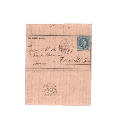 23 NOVEMBRE 1870 20c lauré obl. étoile 15 Paris Bonaparte 23 NOV.70 sur GA n°10...