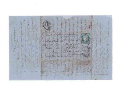 24 NOVEMBRE 1870 20c Siège obl. étoile 24 PARIS R. de Cléry. 24 NOV. 70 sixième...