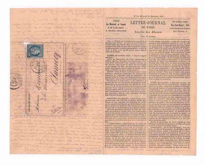 25 NOVEMBRE 1870 20 Siège (dentelure diminuée) obl. étoile 2 PARIS R. St. Lazare...