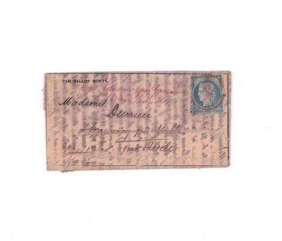 28 NOVEMBER 1870 20c Seat obl. PARIS (SC)...