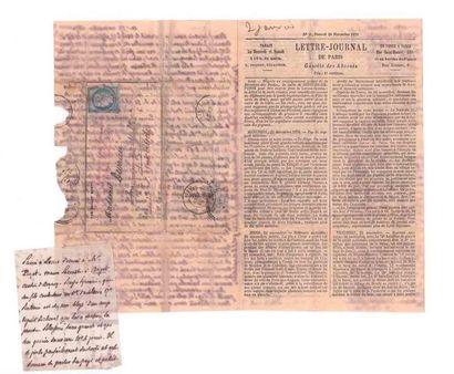 28 NOVEMBRE 1870 20c Siège obl. PARIS (SC) en rouge sur Gazette des Absents n°11...