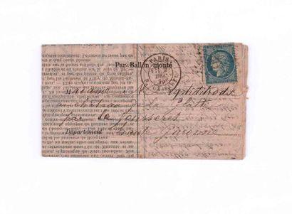 2 DECEMBRE 1870 20c Siège obl. étoile 15...