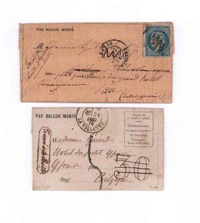BELGIQUE - 31 DECEMBRE 1870 Lettre non affranchie...