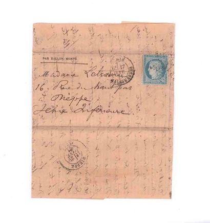 17 JANVIER 1871 20c Siège obl. étoile 37...