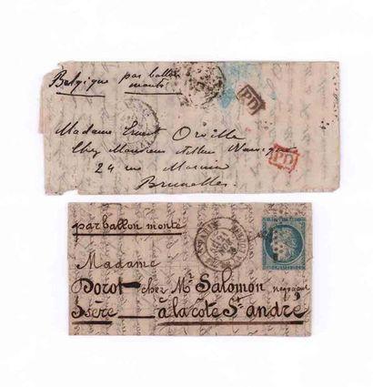 2 BALLONS MONTES BELGIQUE - 26 HANVIER 1871...