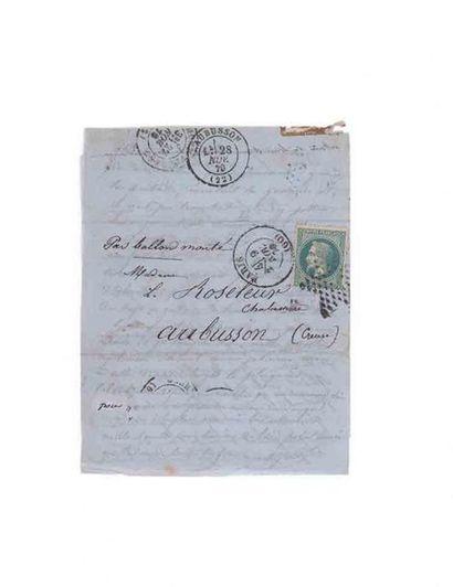 9 NOVEMBRE 1870 - LETTRE D'ALFRED ROSELEUR...