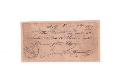 Billet daté Metz 21 septembre 1870 pour...