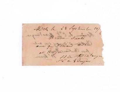 Billet daté Metz 28 septembre 1870 pour...