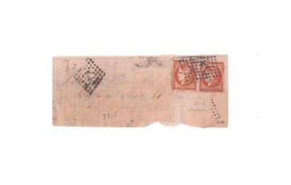 40c Bordeaux en paire (un timbre léger déf.)...