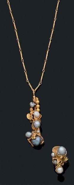 ENSEMBLE Collier et bague Perles de culture,...