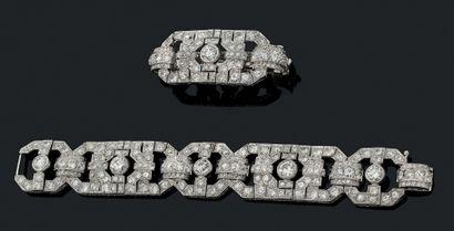 ENSEMBLE BRACELET ET BARRETTE À CHEVEUX Diamants...