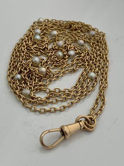 SAUTOIR Perles fines, or 18K (750) Long. : 155 cm env. - Pb. : 20.8 gr A natural...