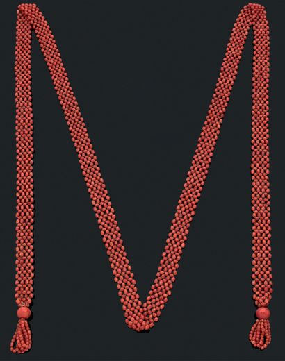 RUBAN TRESSÉ «CORAIL» Perles de corail facettées...