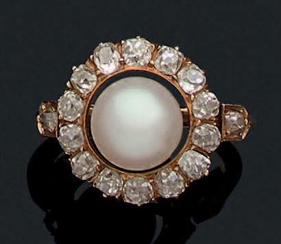 BAGUE «PERLE FINE» Perle fine, diamants de...