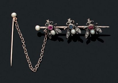BROCHE «INSECTES» Perles, diamants taille...