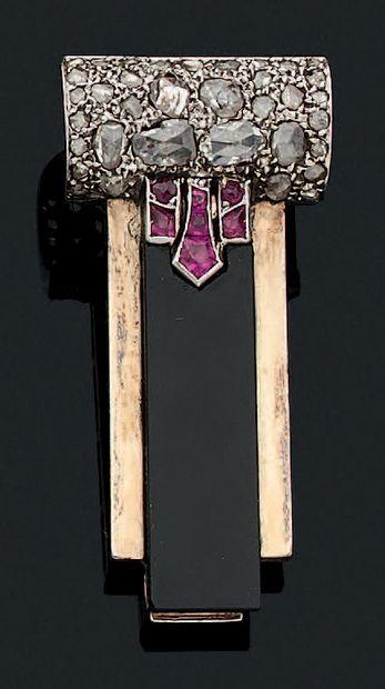CLIP DE REVERS «ART DÉCO» Onyx, diamants...