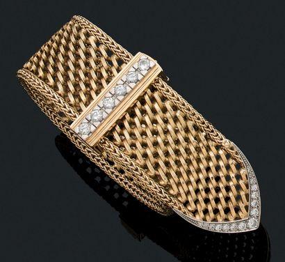 BRACELET «CEINTURE» Fermoir diamants, maille...