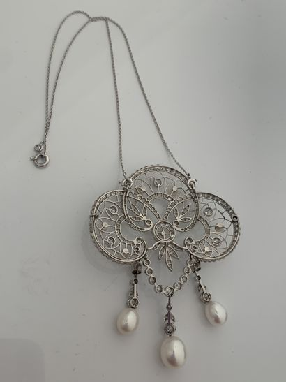 """IMPORTANT PENDANT """"GUIRLANDE"""" Old cut and rose cut diamonds, fine and cultured pearls..."""