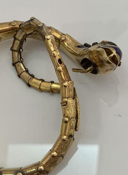 BRACELET «SERPENT» Opale, émail, diamants taille rose Or 14K (585) et argent ( Travail...