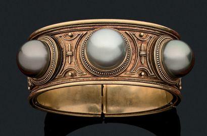 BRACELET JONC Perles de culture, or 18K (750)...