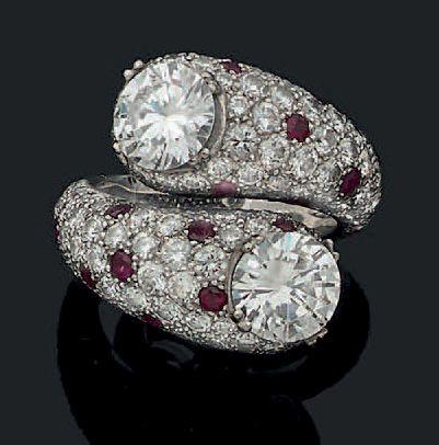BAGUE «TOI ET MOI» Deux diamants ronds, taille...