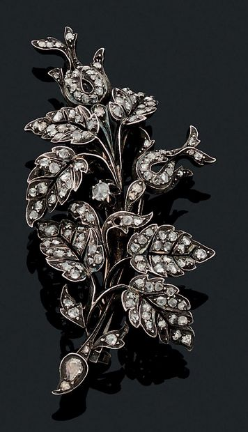 BROCHE «FEUILLAGE» Diamants taille ancienne,...
