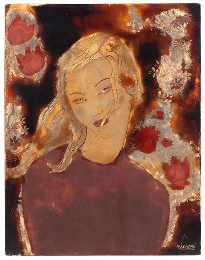 ALIX AYMÉ (1894-1989) Jeune femme Laque avec rehauts d'or et d'argent, signée en...