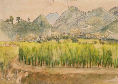 TO NGOC VAN (1906-1954) Paysage de Bình Giã, Vietnam 1951 Aquarelle et fusain sur...